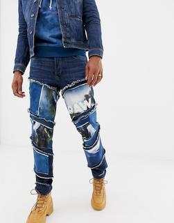 G-Star - x Jaden Smith - Schmale Jeans mit Aufnähern mit 3D-Wasserfall- und Spiraldesign - Blau