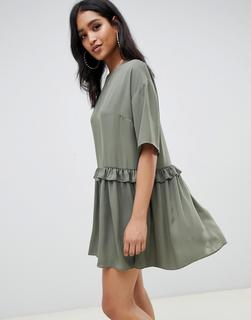 ASOS DESIGN - Kurzes Hängerkleid mit gerüschter Taille-Grün