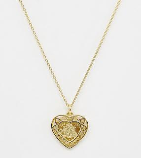 ASOS DESIGN - sterling silver with gold plate heart pendant necklace with dragon design