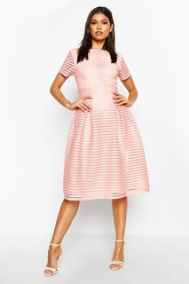 boohoo - Womens Boutique Full Skirted Prom Midi Dress - Pink - 6, Pink