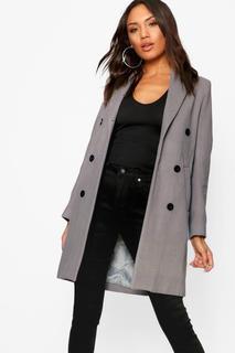 boohoo - Womens Double Breasted Coat - Grey - 8, Grey