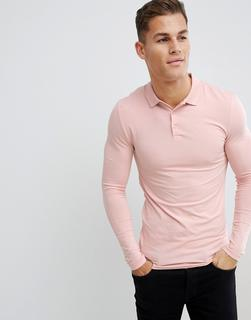 ASOS DESIGN - Langärmliges Muskel-Polohemd aus Jersey in Rosa