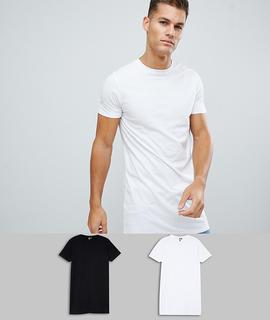 ASOS DESIGN - super longline t-shirt with crew neck 2 pack multipack saving