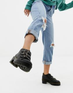DR. MARTENS - Coppola Black Leather Triple Strap Heeled Ankle Boots