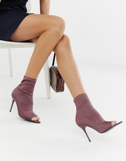 ASOS DESIGN - Esther – Anliegende Stiefel mit offener Zehenpartie und Stilettoabsatz in Violett