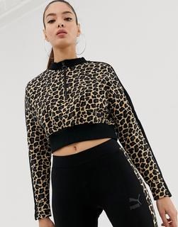 puma - Kurzes Sweatshirt mit Gepardenprint-Schwarz