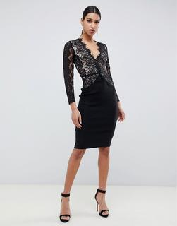 Rare - London bodycon midi dress with scalloped lace detail in black