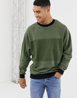 ASOS DESIGN - oversized sweatshirt in khaki interest fabric with reverse panel