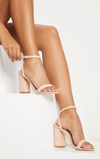 PrettyLittleThing - Nude Ankle Strap Block Heel, Pink