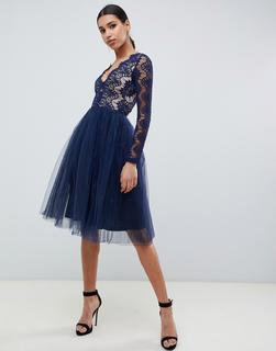 Rare - London midi prom dress with scalloped lace detail in navy