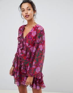 Keepsake - Waves - Minikleid mit Rüschen und Blumendruck - Rosa