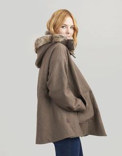 Joules Clothing - Moss Green Tweed Carolyn Tweed Swing Coat  Size M