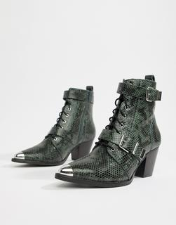ASOS DESIGN - Rhythmic premium leather western lace up boots in snake