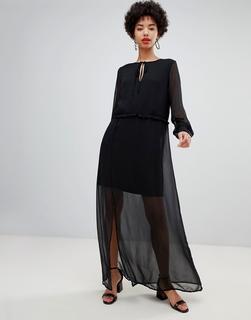 Vero Moda - chiffon sheer maxi dress with cuff detail in black