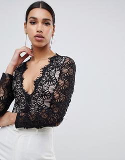 Rare - London bodysuit with scalloped lace detail in black