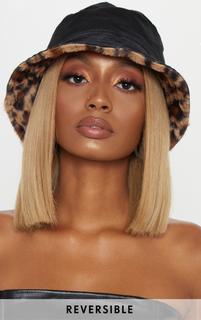 PrettyLittleThing - Leopard Faux Fur Reversible Bucket Hat, Brown