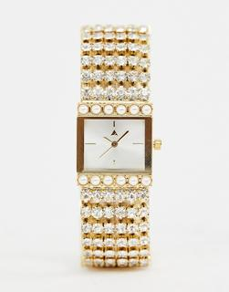 ASOS DESIGN - watch in vintage style design with jewel and pearl strap