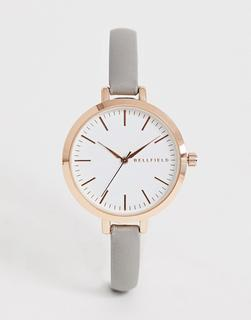 Bellfield - Schmale Damen-Armbanduhr mit grauem Armband