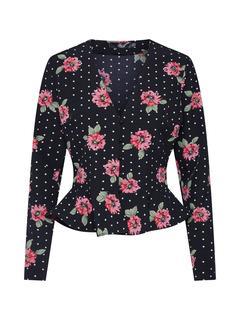 Missguided - Shirt ´Polka Dot Floral Peplum Top´