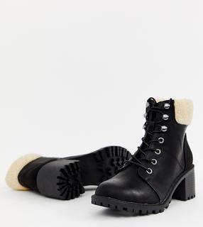 New Look - shearling lace up heeled boot in black