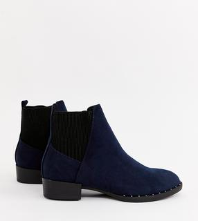 New Look - studded flat boot in navy