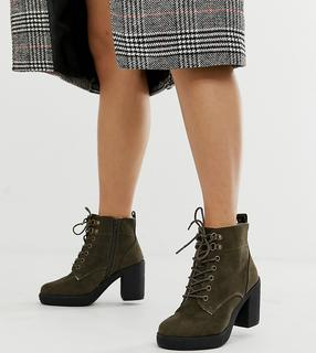 New Look Wide Fit - suedette lace up heeled boot in khaki