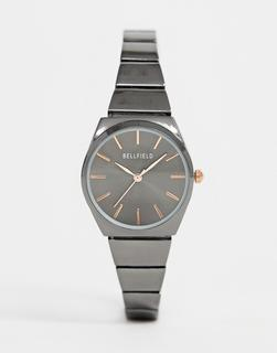 Bellfield - ladies gunmetal skinny bracelet watch