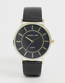 Christin Lars - Christian Lars ladies black strap watch with black dial