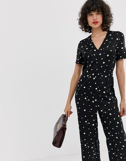 Pieces - Diamond Print V Neck Jumpsuit
