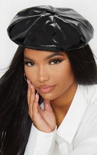 PrettyLittleThing - Black Patent Beret Hat, Black