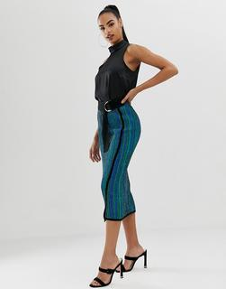 ASOS DESIGN - knitted midi skirt in metallic multi stripe with d ring belt