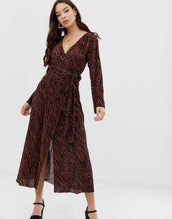 ASOS DESIGN - plisse wrap maxi dress in tiger print