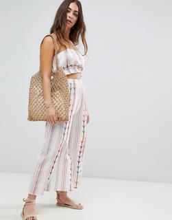 ASOS DESIGN - chevron embroidered split front beach co-ord trouser