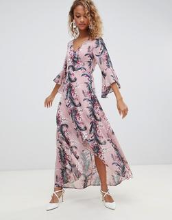 Glamorous - Geblümtes Maxikleid mit Wickeldesign-Rosa