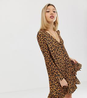 ASOS Petite - ASOS DESIGN Petite leopard print button through mini dress