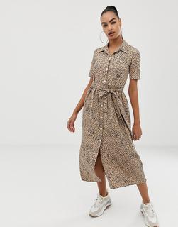 ASOS DESIGN - Midi-Hemdkleid mit Gürtel und Leopardenmuster - Mehrfarbig