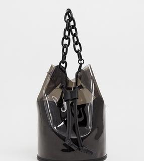 Bershka - Schwarze Handtasche mit Kettenhenkeln aus Plastik - Schwarz
