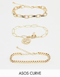 ASOS Curve - ASOS DESIGN Curve pack of 3 bracelets with open link and box chain and worn coin charm in gold tone