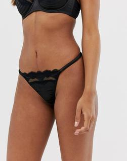 ASOS DESIGN - Lusha stab stitch lace and satin thong