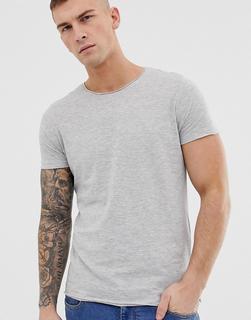 Brave Soul - Basic-T-Shirt mit unbearbeiteten Kanten - Grau