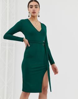 In The Style - Midikleid mit tiefem Ausschnitt - Grün