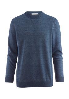hessnatur - Herren Pullover aus Leinen mit Schurwolle – blau – Größe 56