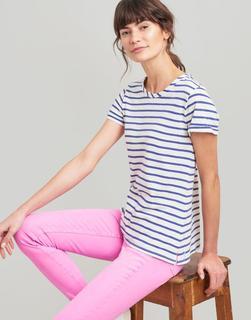 Joules Clothing - Cream Blue Stripe Nessa Stripe Lightweight Jersey T-Shirt  Size 18