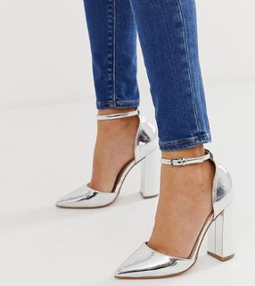 ASOS DESIGN - Pebble pointed high heels in silver