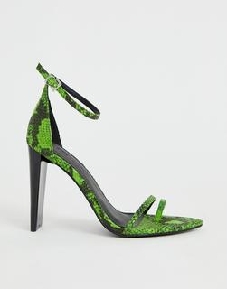 ASOS DESIGN - Harper barely there heeled sandals in green snake
