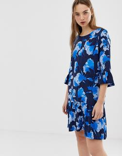 minimum - floral dress with fluted sleeves