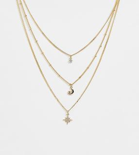 Reclaimed Vintage - inspired multirow necklace with moon and star pendants