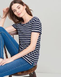 Joules Clothing - Navy Cream Stripe Nessa Stripe Lightweight Jersey T-Shirt  Size 14