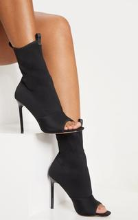 PrettyLittleThing - Black Square Toe Lycra Peeptoe Sock Boot, Black