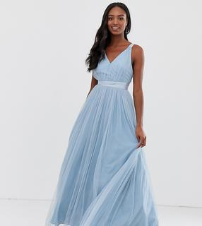 ASOS Tall - ASOS PREMIUM Tall Tulle Maxi Prom Dress With Ribbon Ties